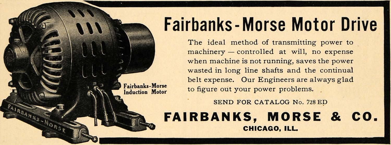 1908 Ad Fairbanks Morse Motor Drive Induction Power - ORIGINAL ADVERTISING TW1