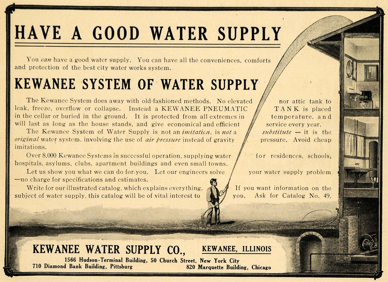 1908 Ad Kewanee System Water Supply House Hose Family - ORIGINAL  ADVERTISING TW1