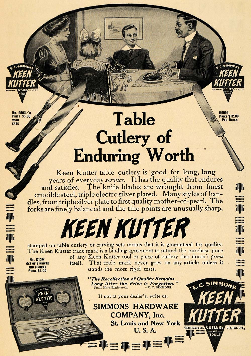 1912 Ad Keen Kutter Table Cutlery Simmons Hardware - ORIGINAL ADVERTISING TW1