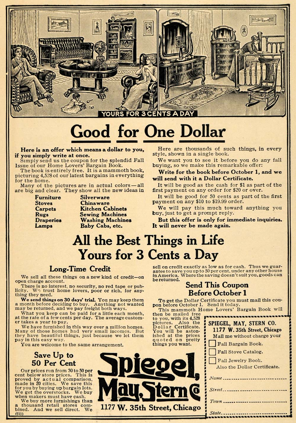 1912 Ad Spiegel May Stern Furniture Living Room Baby - ORIGINAL ADVERTISING TW1