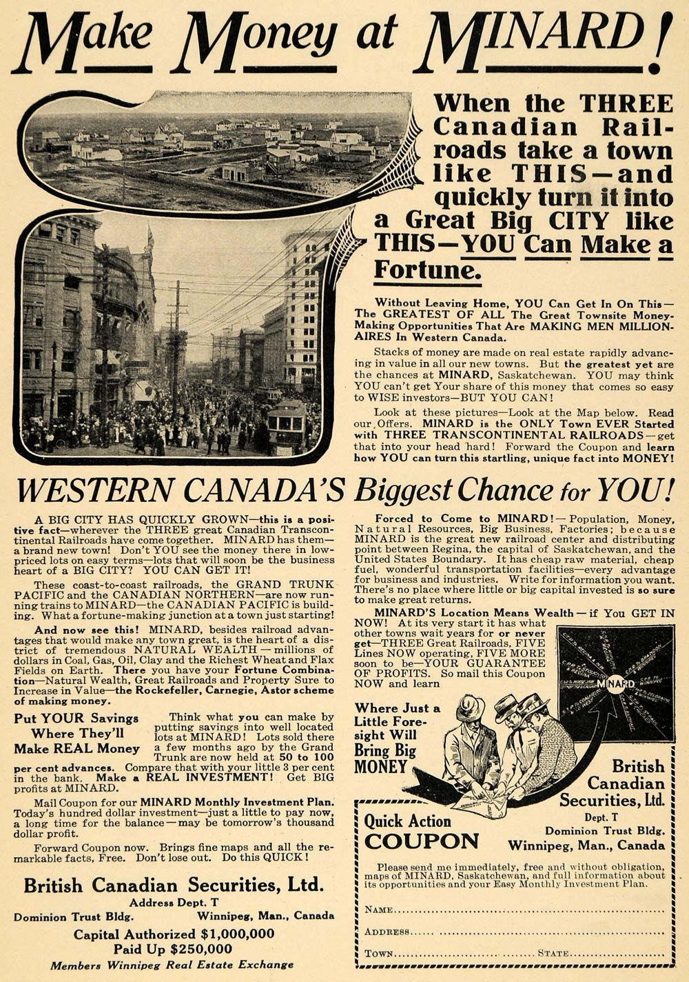 1914 Ad British Canadian Securities Ltd Western Canada - ORIGINAL TW1