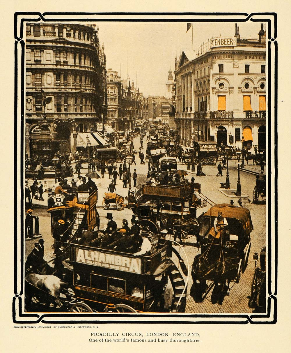 1908 Print Piccadilly Circus London Streetcar People - ORIGINAL TW2