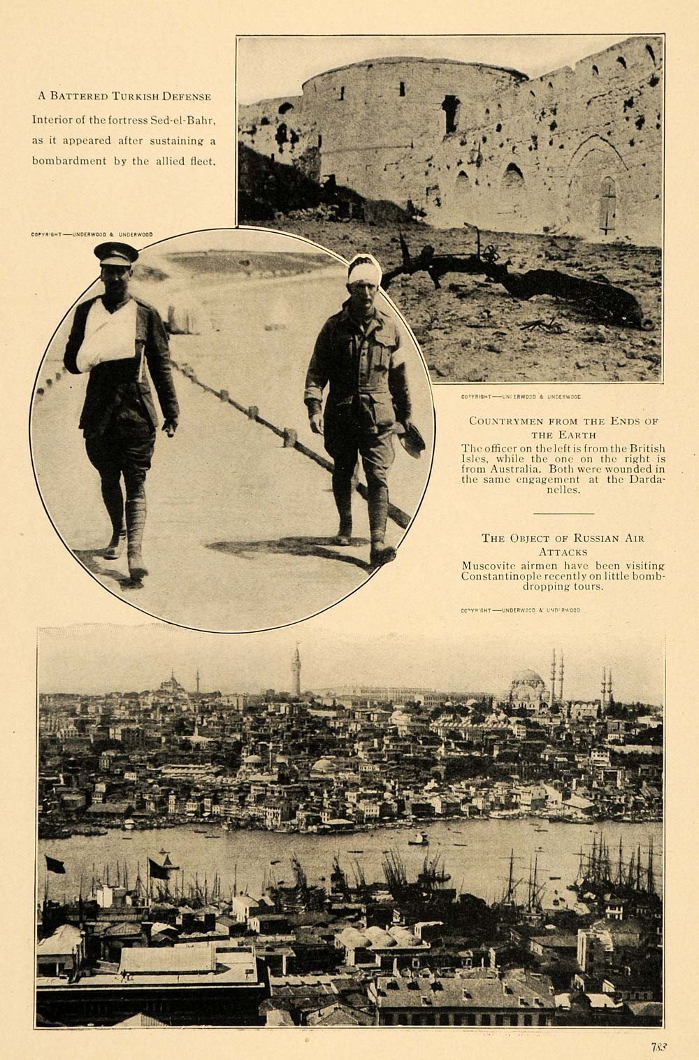 1915 Print Turkish Fort Injury Soldier Pray Service WWI ORIGINAL HISTORIC TW2