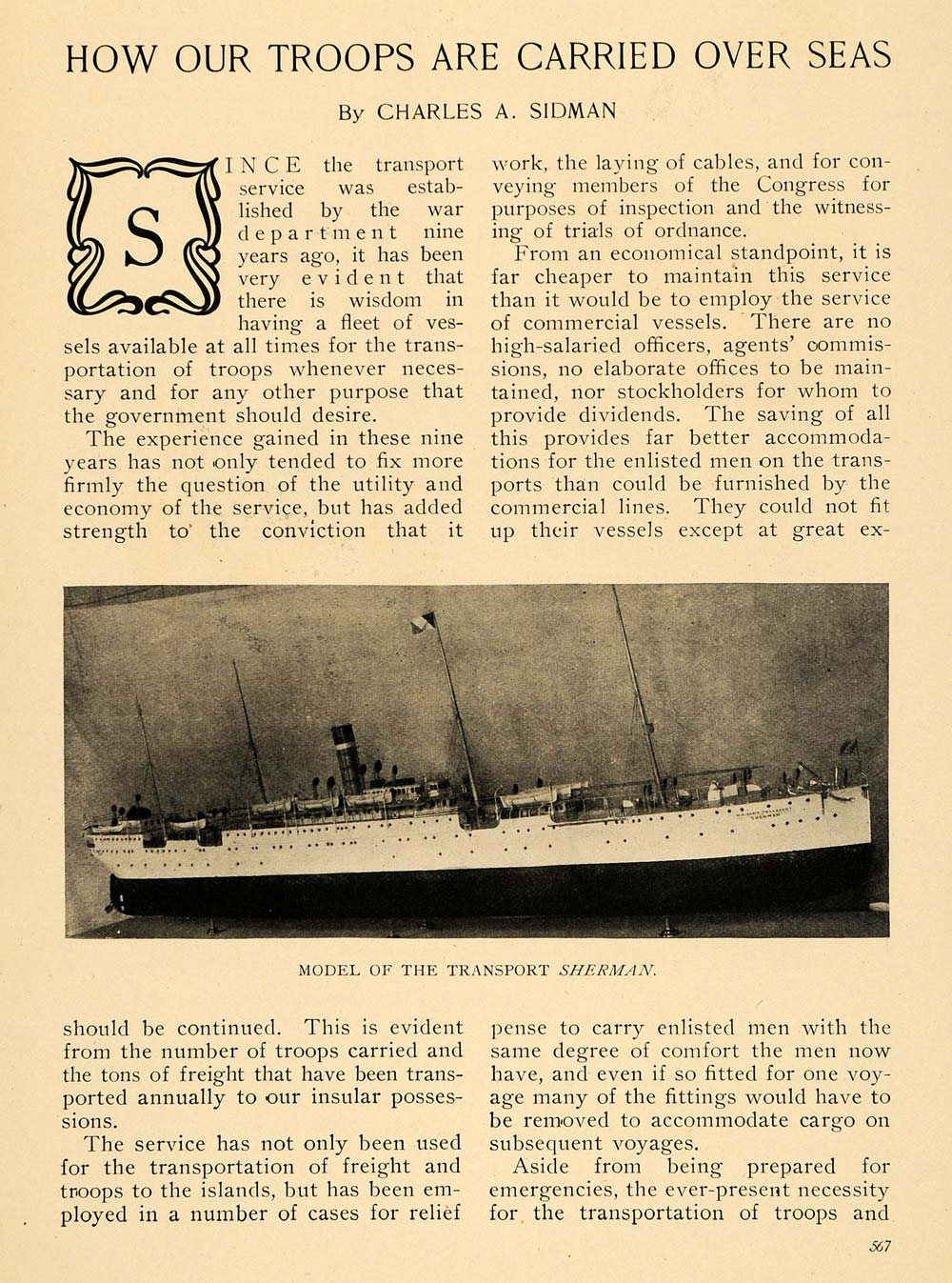 1908 Article Troops Carried Overseas Ship Cross-Section - ORIGINAL TW2