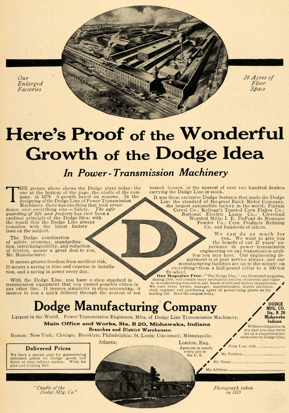 1910 Ad Dodge Factory Power Transmission Machinery IND - ORIGINAL TW3