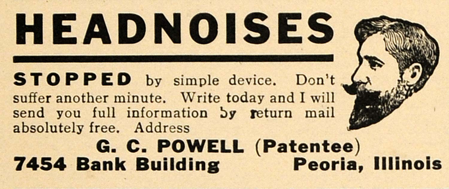 1911 Ad Head Noises Stopped Device G C Powell Peoria - ORIGINAL ADVERTISING TW3