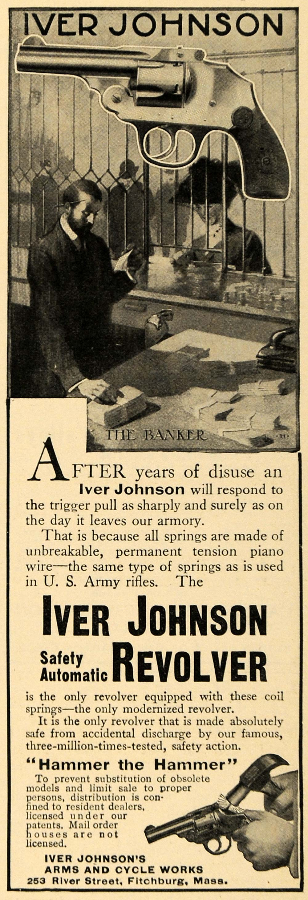 1911 Ad Banker Protection Iver Johnson Safety Revolver - ORIGINAL TW3