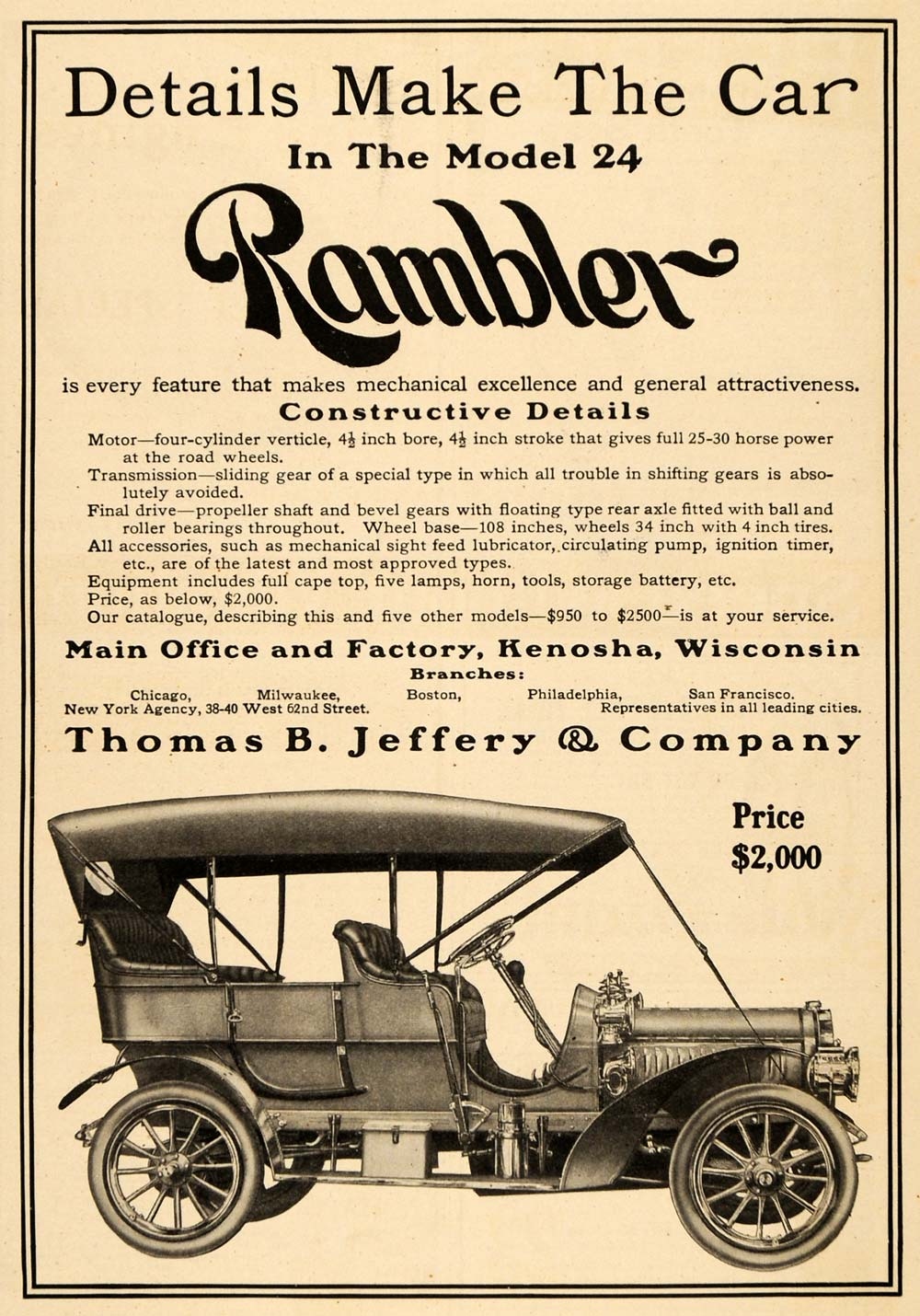 1907 Ad Rambler Thomas Jeffery Automobile Car Model 24 - ORIGINAL TW3