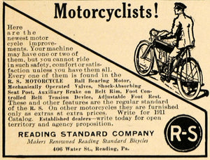1911 Ad Motorcycle Reading Standard Pennsylvania Motor - ORIGINAL TW3