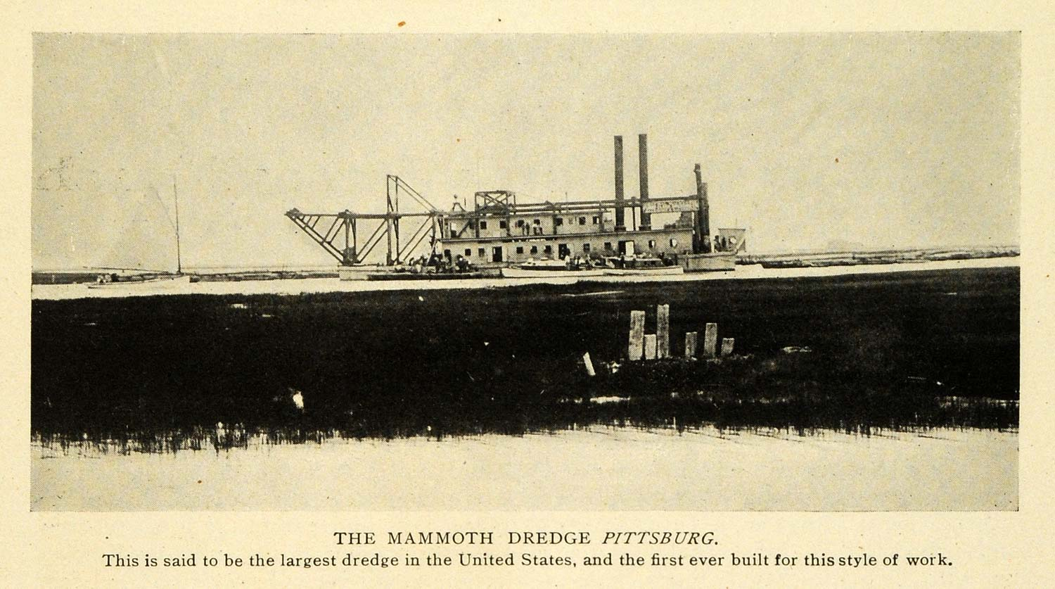 1907 Print Pittsburg Dredge Marine Boat Ship Machine - ORIGINAL HISTORIC TW3