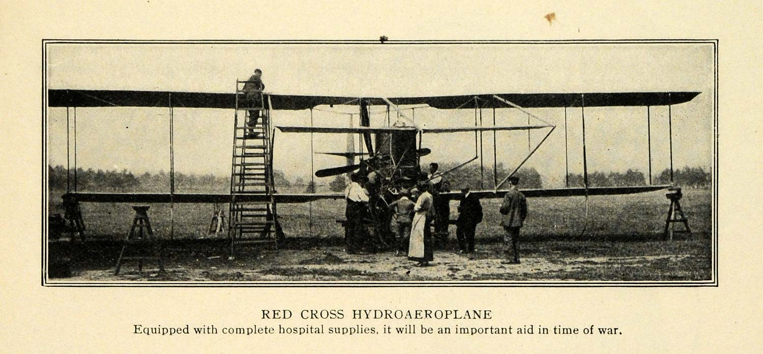 1913 Print Red Cross Hydroaeroplane Medical Airplane - ORIGINAL HISTORIC TW3
