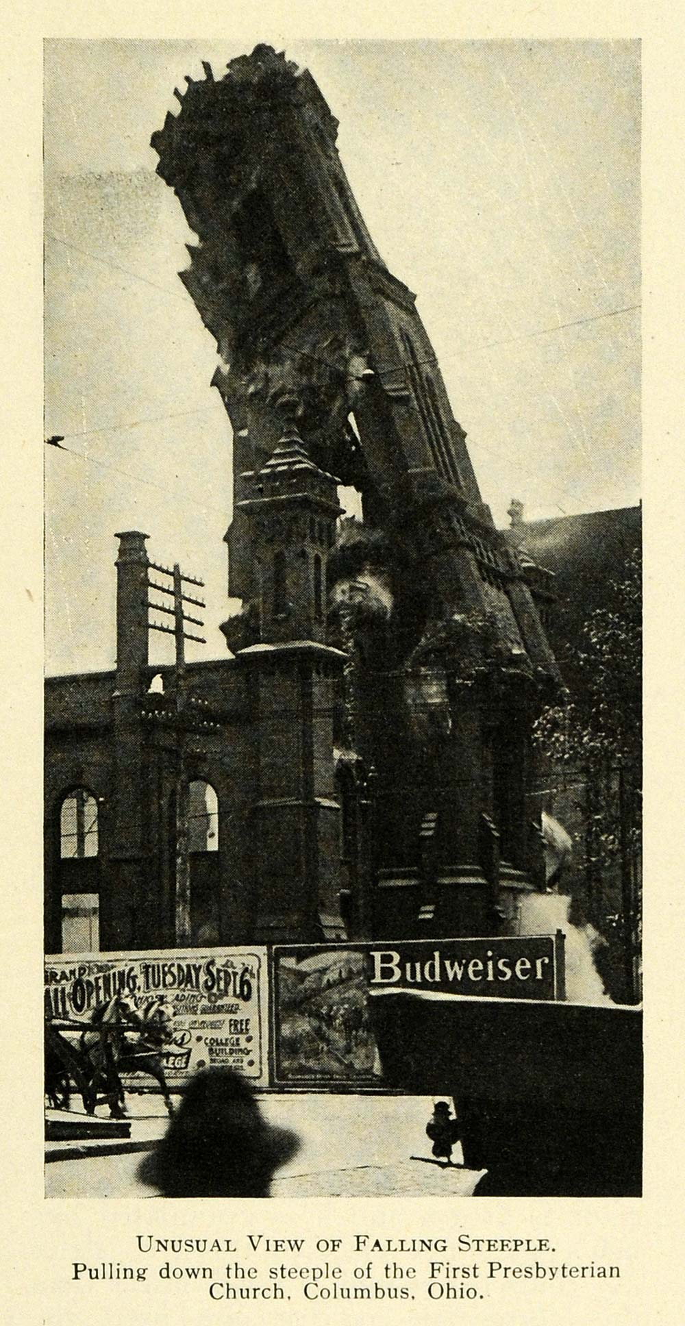 1910 Print Steeple First Presbyterian Church Columbus ORIGINAL HISTORIC TW3