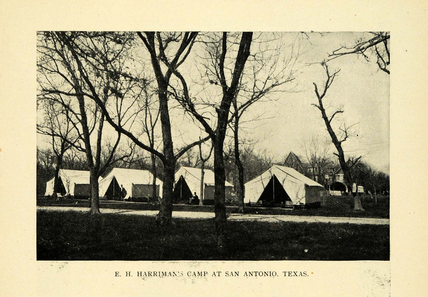 1909 Print Harriman Camp Railroad San Antonio Texas - ORIGINAL HISTORIC TW3