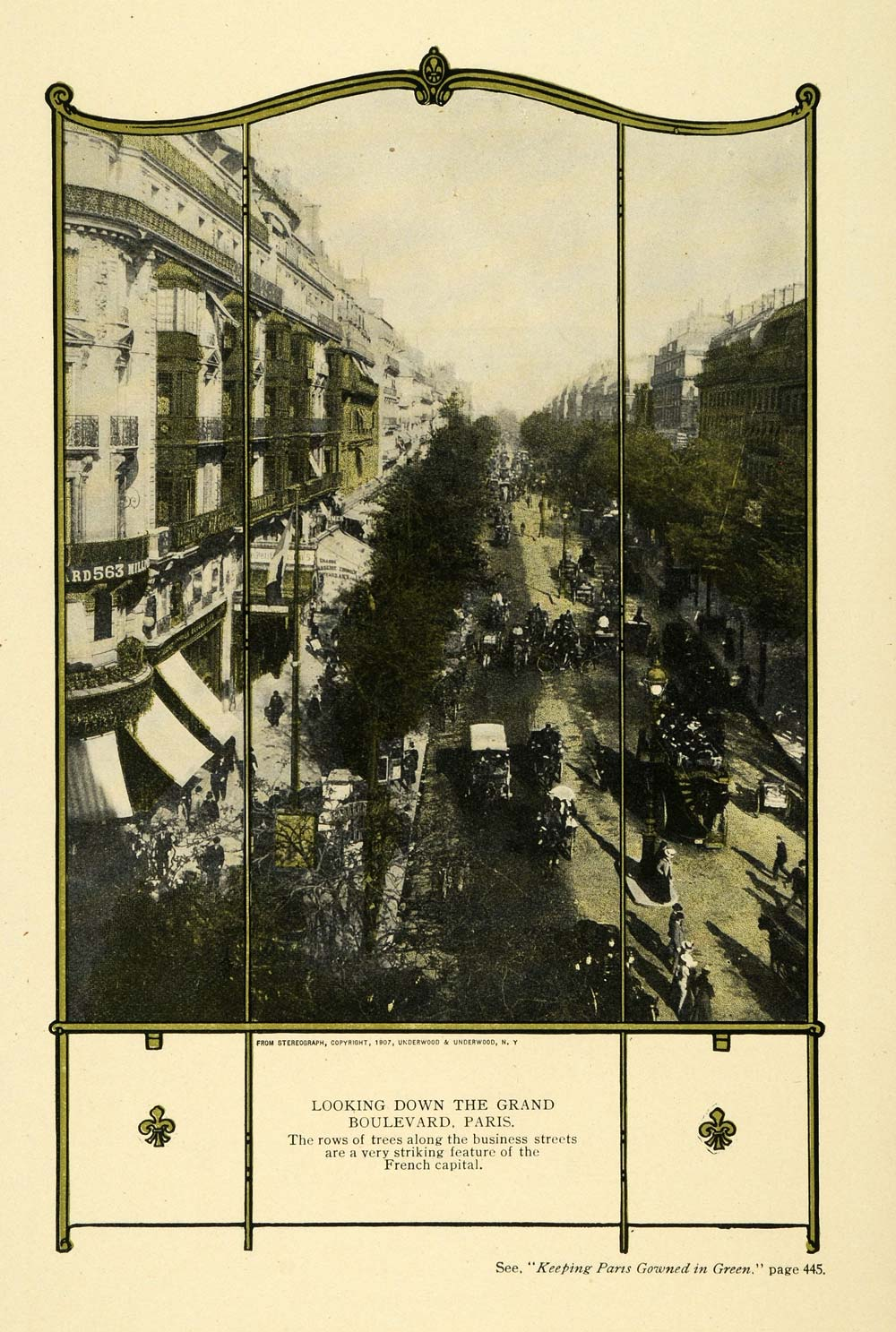 1909 Print Grand Boulevard Paris France Trees Traffic - ORIGINAL TW3