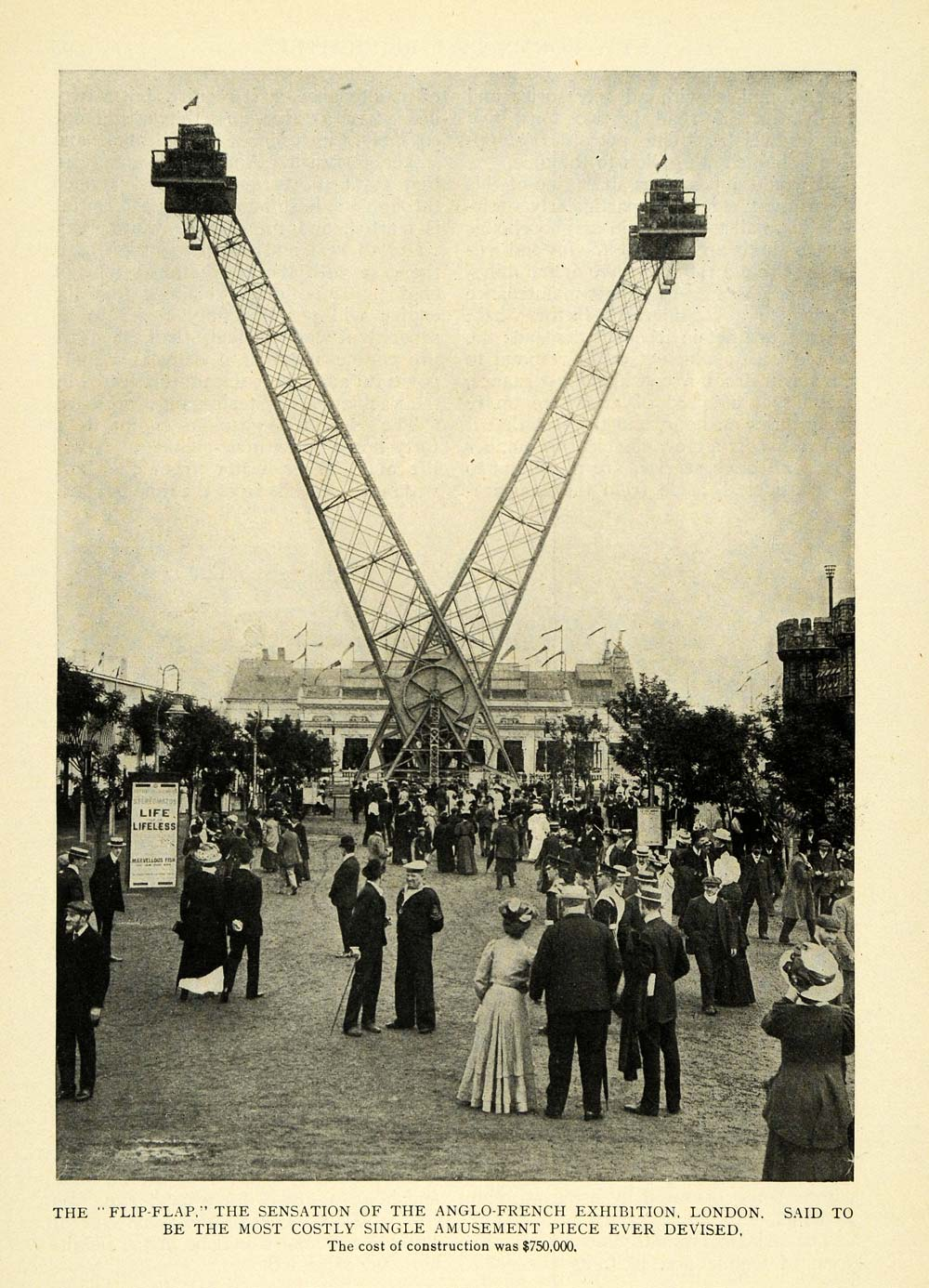 1909 Print Anglo French Exhibition London Carnival Ride Original