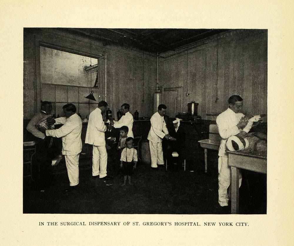 1909 Print Surgical Room St. George Hospital New York - ORIGINAL HISTORIC TW3