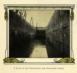 1909 Print Chesapeake Bay Delaware River Canal Waterway - ORIGINAL TW3