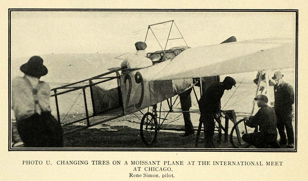 1911 Print Chicago International Meet Moissant Plane - ORIGINAL HISTORIC TW4