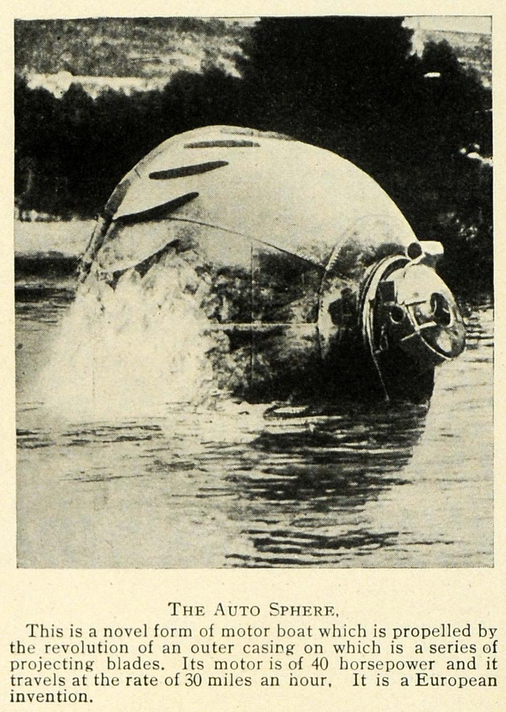 1912 Print Auto Sphere Motor Boat Invention Science Blade Sailing Research TW4