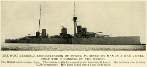 1912 Print Ship Boat Vessel Warship Lion Battle Cruiser Wartime Army TW4
