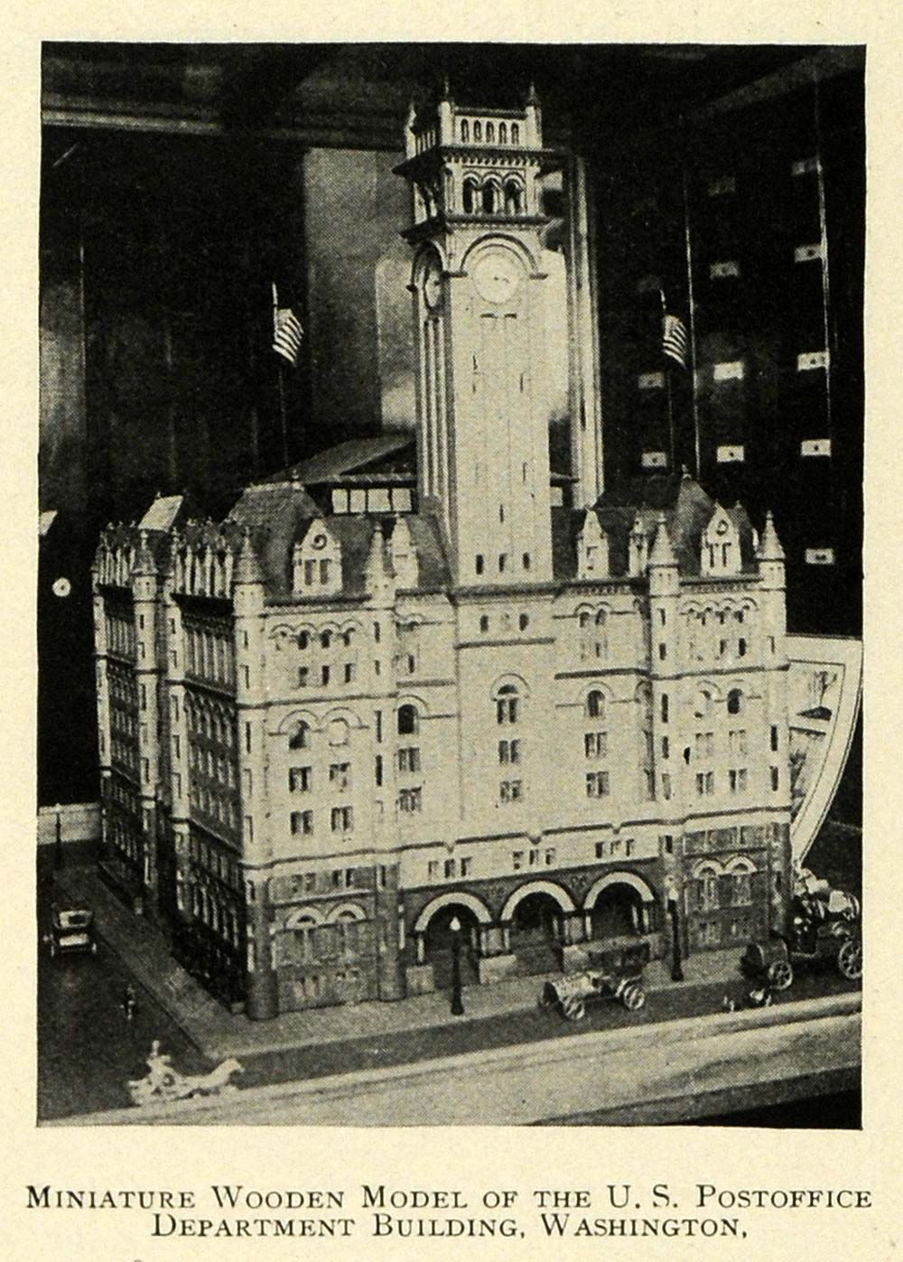 1912 Print Wooden Model United States Post Office Building Washington Tower TW4