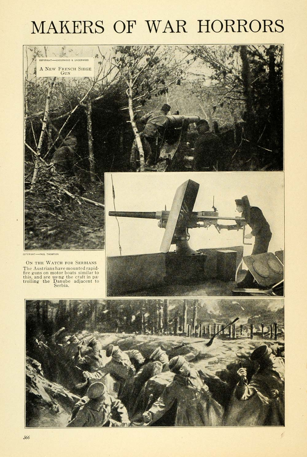 1915 Print WWI Serbians Austrians French Rapid Fire Gun ORIGINAL HISTORIC TW4