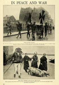 1915 Print WWI German Military Soldiers Maltese Cross Airplane Wings TW4