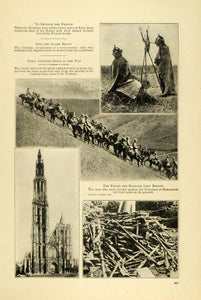 1914 Print WWI Scenes German Calvary Russian Firearms Miliary Cathedral TW4