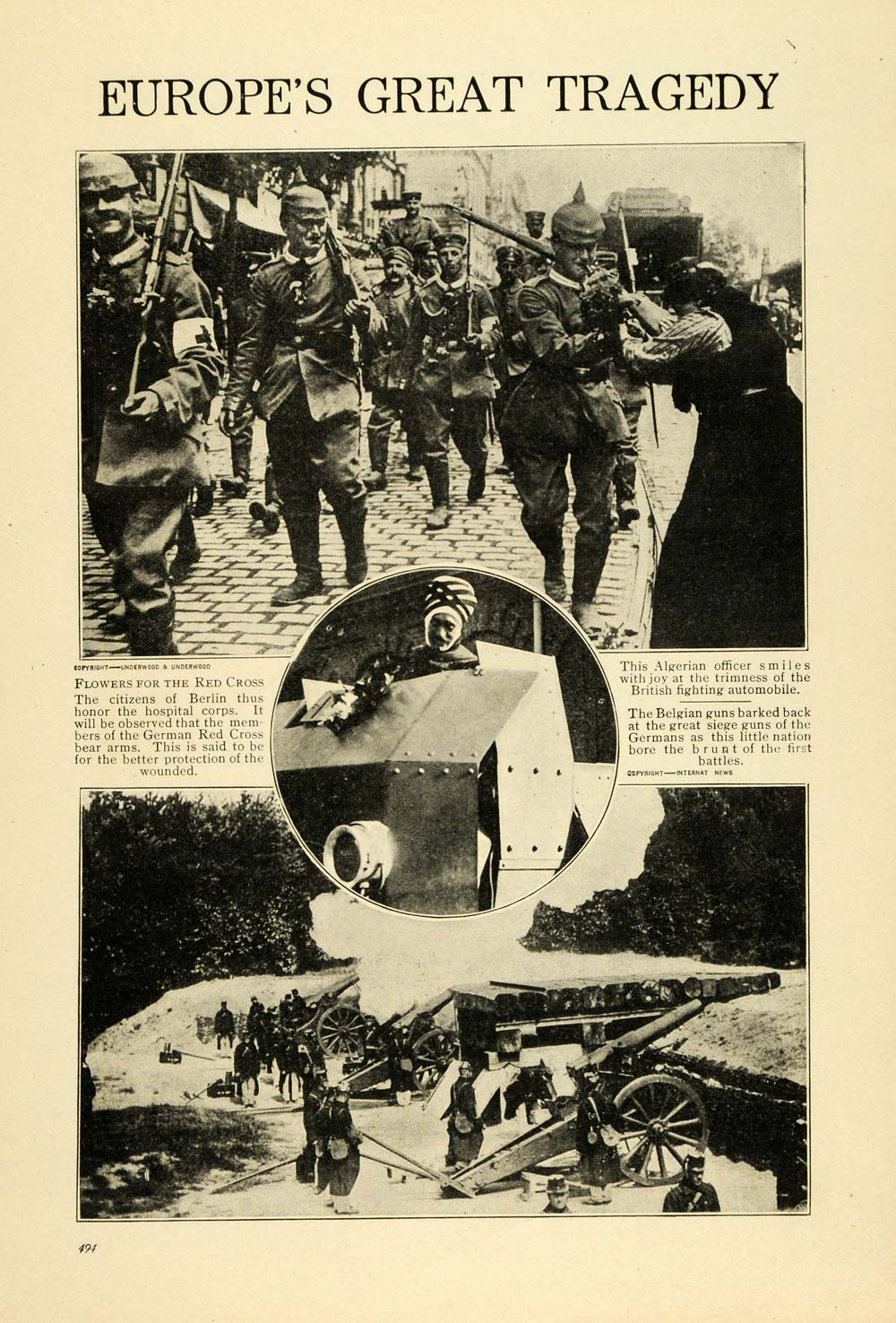 1914 Print WWI German Red Cross Belgian Algerian Military Weaponry Siege TW4