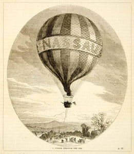 1876 Wood Engraving The Great Nassau Hot Air Balloon Flight Charles Green TWW1