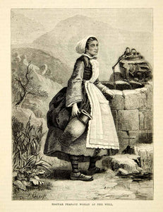 1876 Wood Engraving Antique Magyar Hungarian Peasant Woman Costume Hungary TWW1