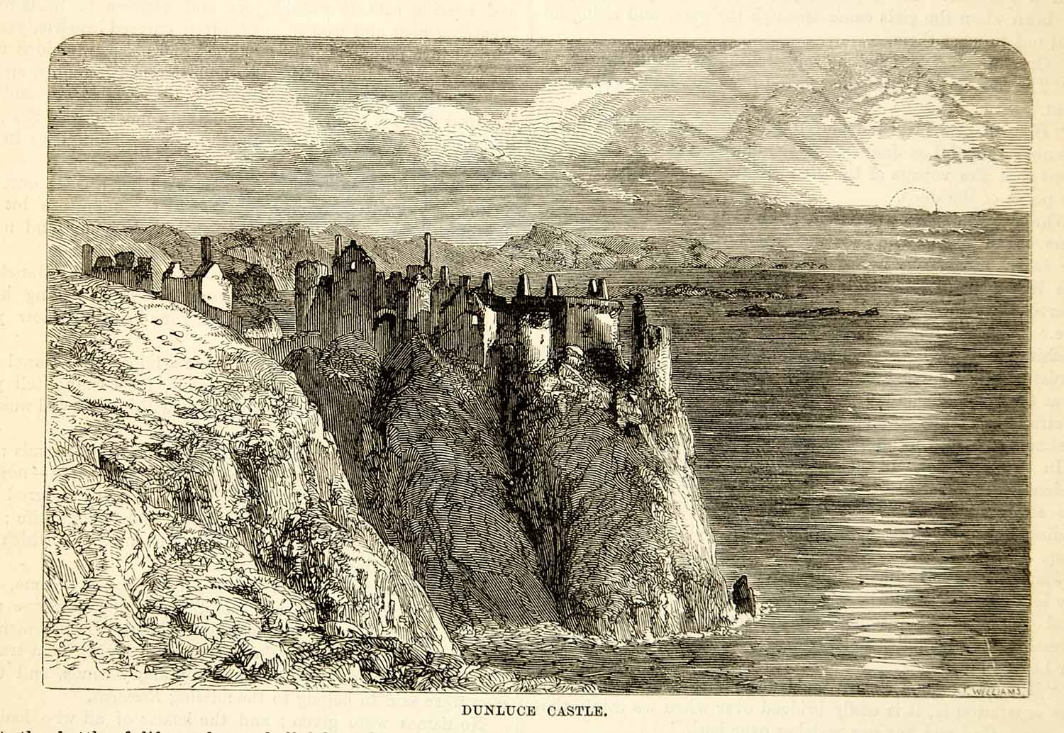 1876 Wood Engraving Antique Dunluce Castle Medieval Ruin Northern Ireland TWW1