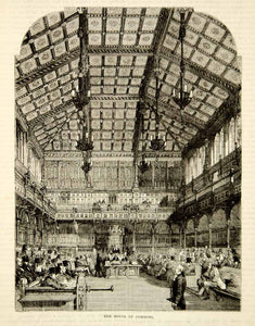 1876 Wood Engraving House of Commons Interior Parliament Westminster London TWW1