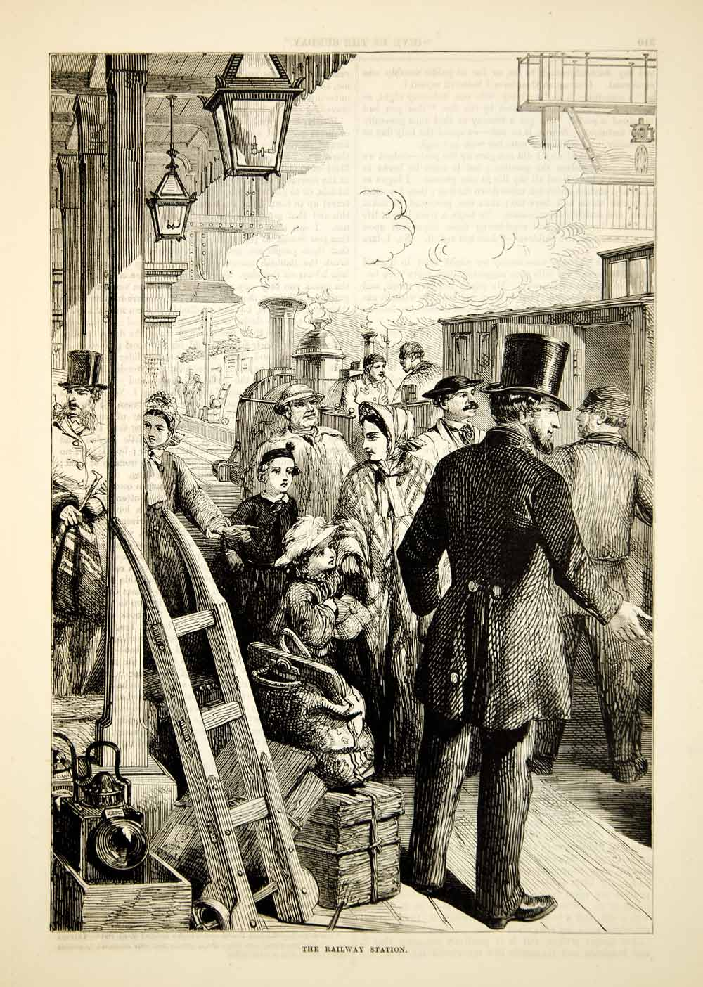 1876 Wood Engraving Railway Station Platform Train Passengers Victorian TWW1