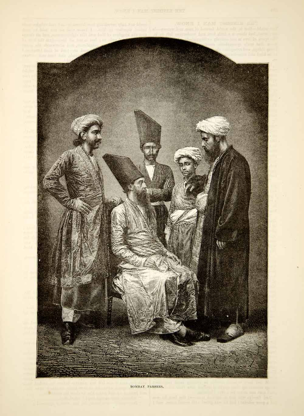 1876 Wood Engraving Antique Parsi Parsee Men Bombay India Costume Indian TWW1