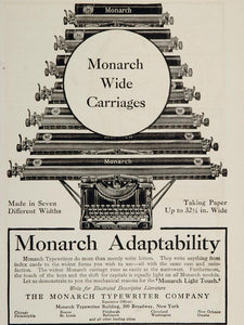 1909 Print Ad Monarch Light Touch Typewriter Carriage - ORIGINAL ADVERTISING