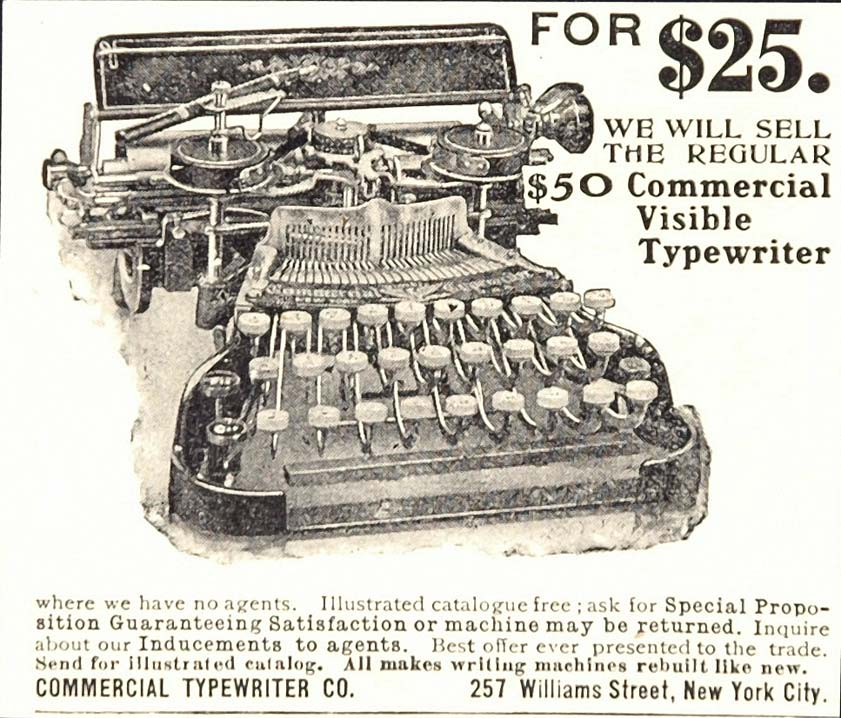 1907 Original Ad Pricing Commercial Visible Typewriter Office Typist New York