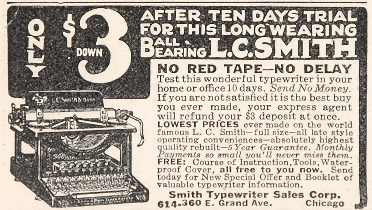 1925 Original Print Ad L. C. Smith Typewriter Chicago - ORIGINAL ADVERTISING