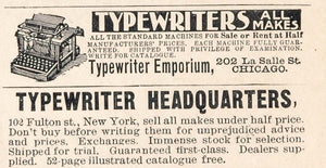 1900 Original Ads Typewriter Emporium Headquarters - ORIGINAL ADVERTISING