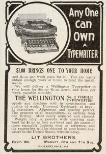 1905 Original Ad Wellington Typewriter Model No. 2 Lit - ORIGINAL ADVERTISING
