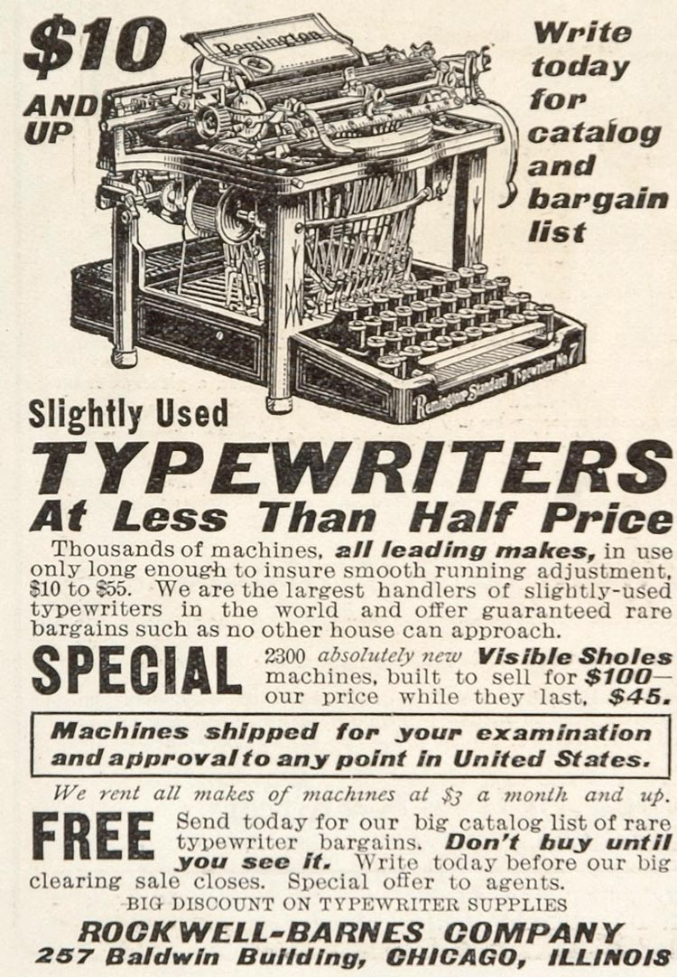 1905 Ad Rockwell Barnes Remington No. 7 Used Typewriter - ORIGINAL ADVERTISING