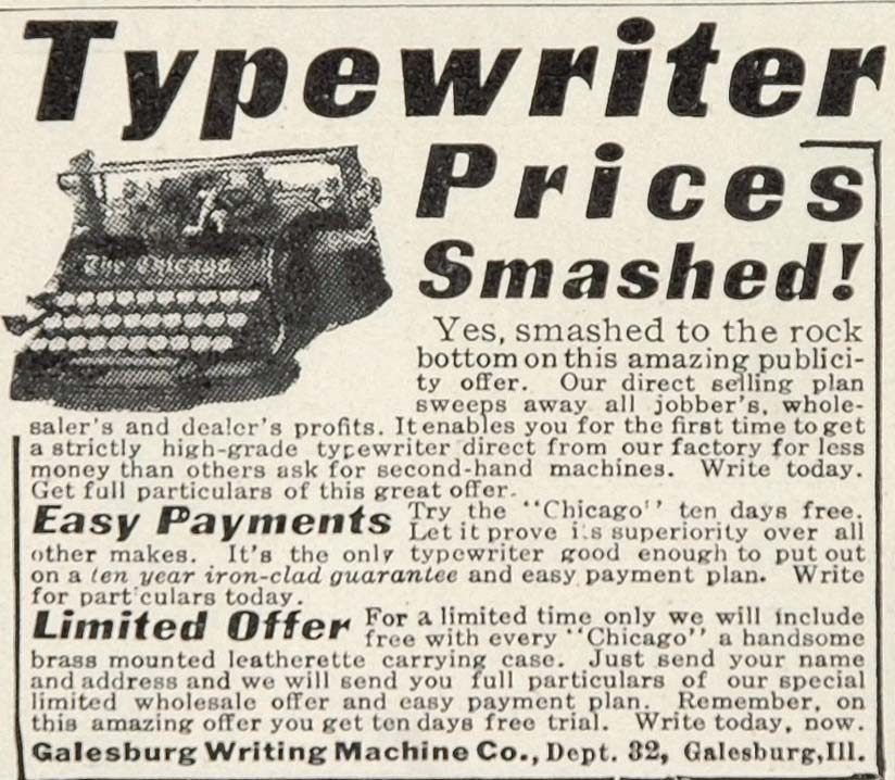 1913 Ad Galesburg Pricing Original Chicago Typewriter Writing Machine Office