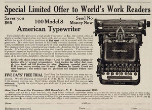 1909 Original Print Ad American Typist Desk Typewriter Model No. 8 New York City