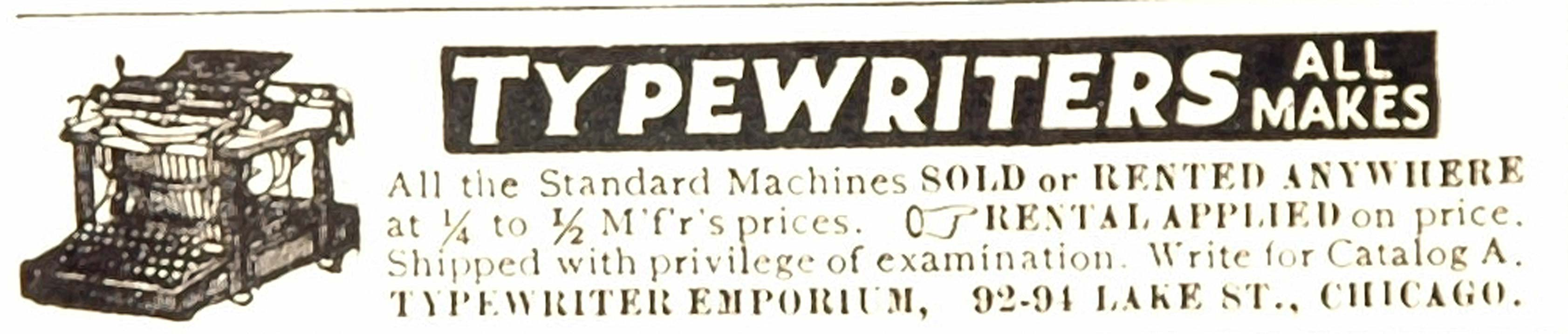 1909 Original Print Ad Typewriter Emporium Chicago - ORIGINAL ADVERTISING