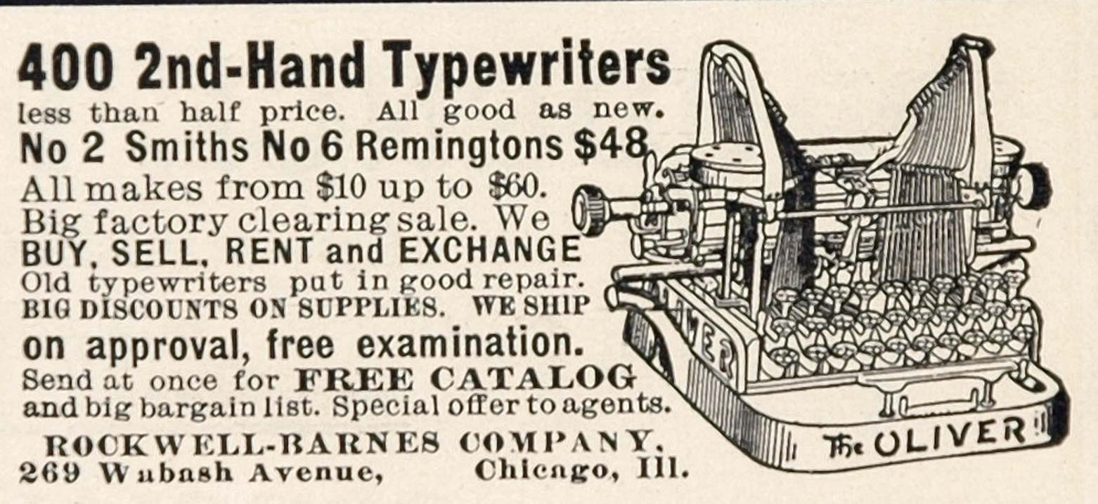 1904 Ad Rockwell Barnes Company Used Typewriters Oliver - ORIGINAL ADVERTISING