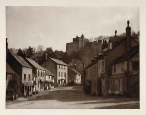 1926 Dunster Castle Village Street Somerset England - ORIGINAL PHOTOGRAVURE UK1