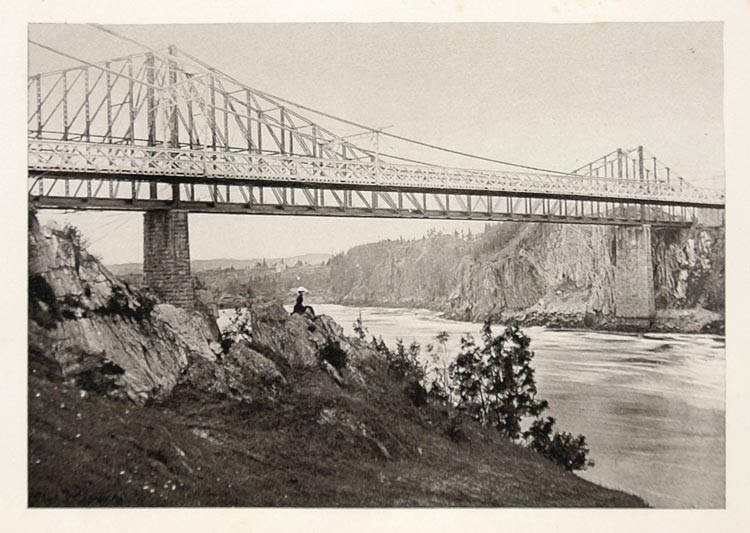 1900 Suspension Bridge St. John River NH Photogravure - ORIGINAL US3