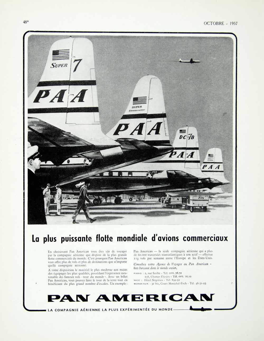 1957 Ad Pan American Airways Airlines Planes Fleet French Fifties Flying VEN1