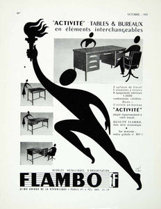 1957 Ad Rene Ravo Flamo Office Furniture Desk Metallic Runner Torch Olympic VEN1