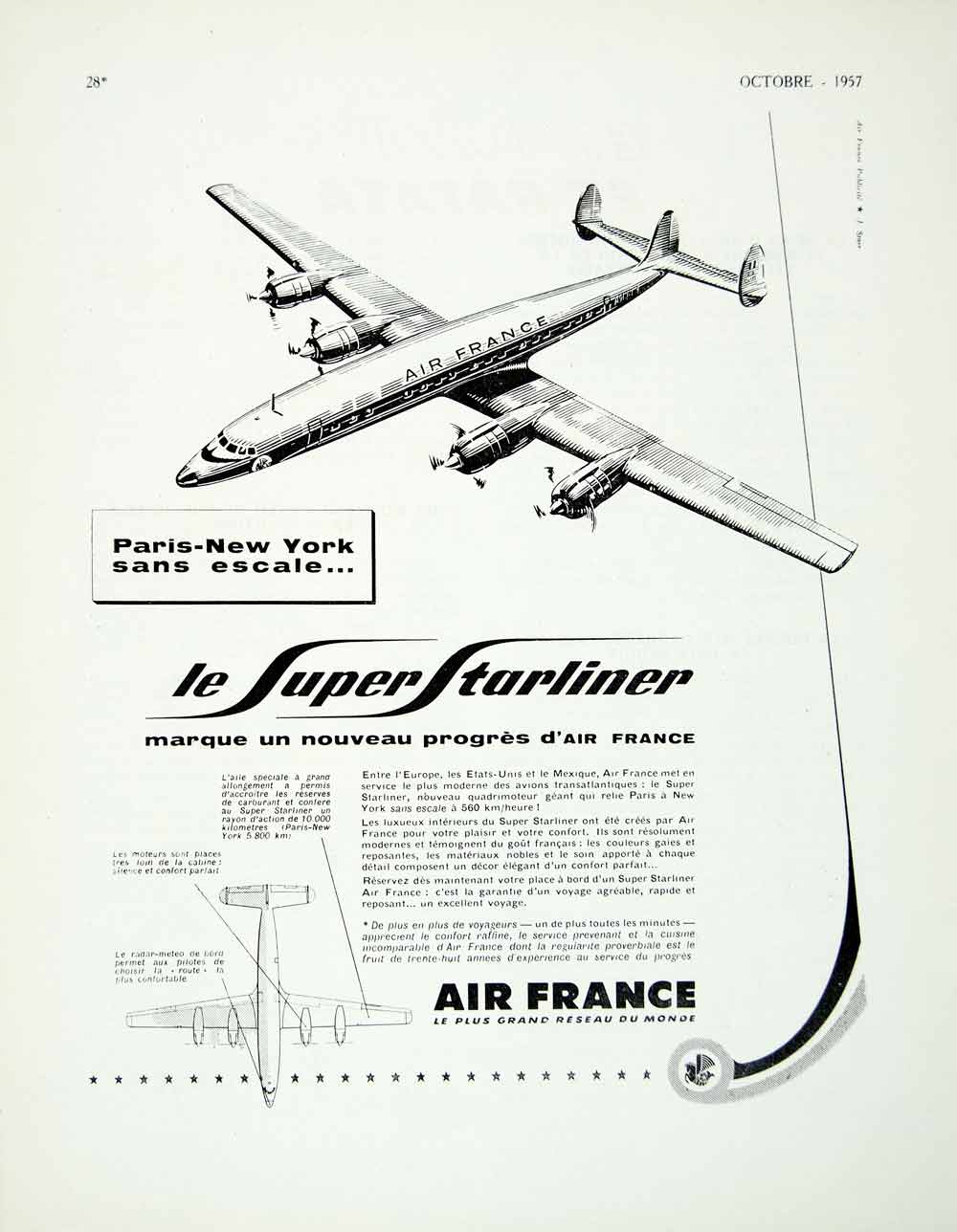 1957 Ad Super Starliner Air France Plane Airlines Airways Travel Wings VEN1